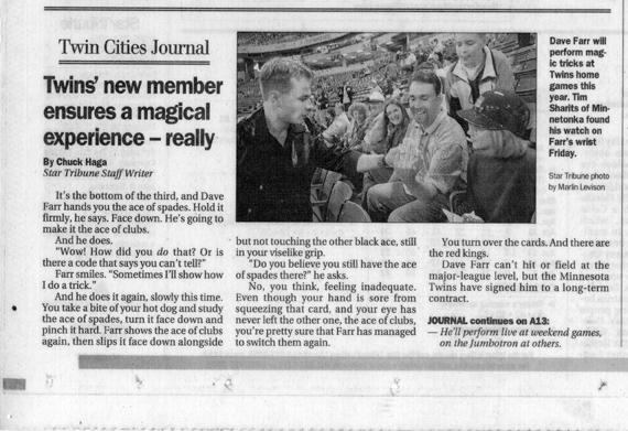 Minneapolis Star Tribune article on magician David Farr